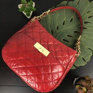 NWT Michael Kors Red Leather Susannah Lock Purse